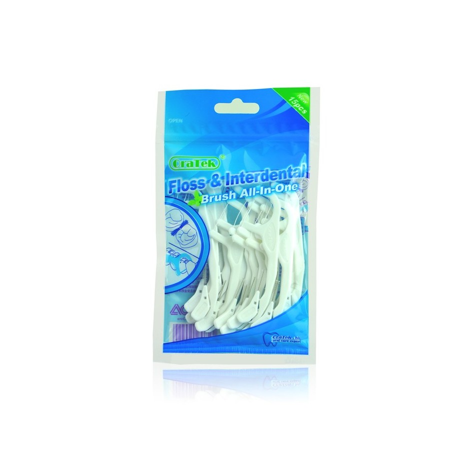Dental Floss with Interdental Brush All in One